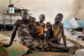 A family displaced by inter-communal fighting find a temporary home in a school classroom in the village of Ying, in northeast South Sudan.